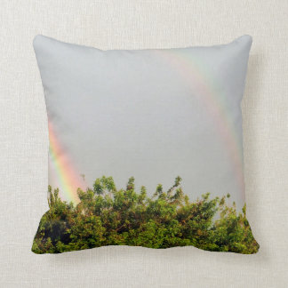 Double Rainbow Photo with sky and trees Throw Pillow