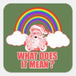 Double Rainbow Santa Claus Square Sticker