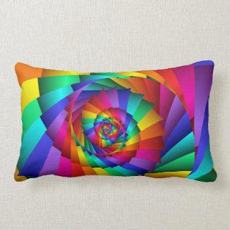 Double Rainbow Spiral Lumbar Pillow