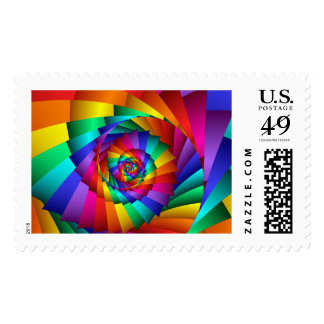 Double Rainbow Spiral Postage Stamps