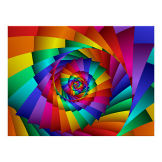 Double Rainbow Spiral Poster