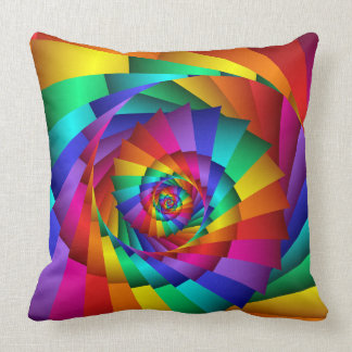 Double Rainbow Spiral Throw Pillow