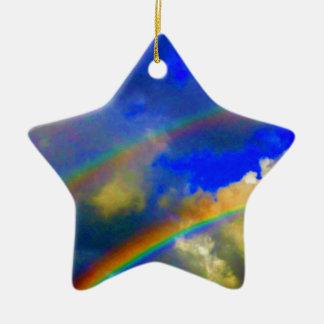 Double Rainbow Vision Double-Sided Star Ceramic Christmas Ornament