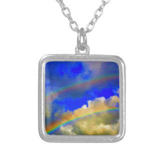 Double Rainbow Vision Square Pendant Necklace