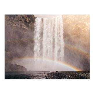 Double Rainbow with Rocks and Waterfall postcard