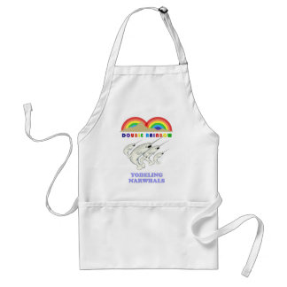 Double Rainbow Yodeling Narwhals Adult Apron