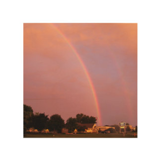 Double Rainbows at Sunset Wood Print