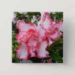 Double Red and White Azaleas Spring Floral Button