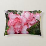 Double Red and White Azaleas Spring Floral Decorative Pillow