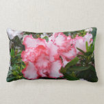 Double Red and White Azaleas Spring Floral Lumbar Pillow