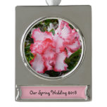 Double Red and White Azaleas Spring Floral Silver Plated Banner Ornament