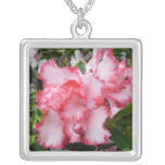 Double Red and White Azaleas Spring Floral Silver Plated Necklace