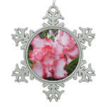 Double Red and White Azaleas Spring Floral Snowflake Pewter Christmas Ornament