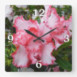 Double Red and White Azaleas Spring Floral Square Wall Clock