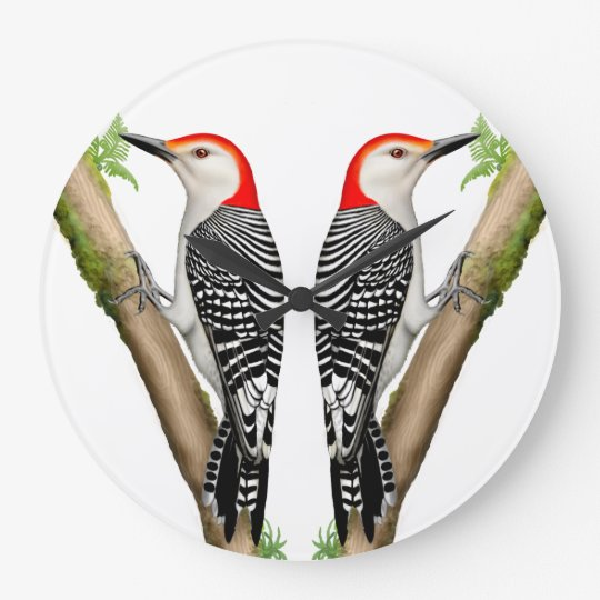 Double Red Bellied Woodpecker Birds Clock