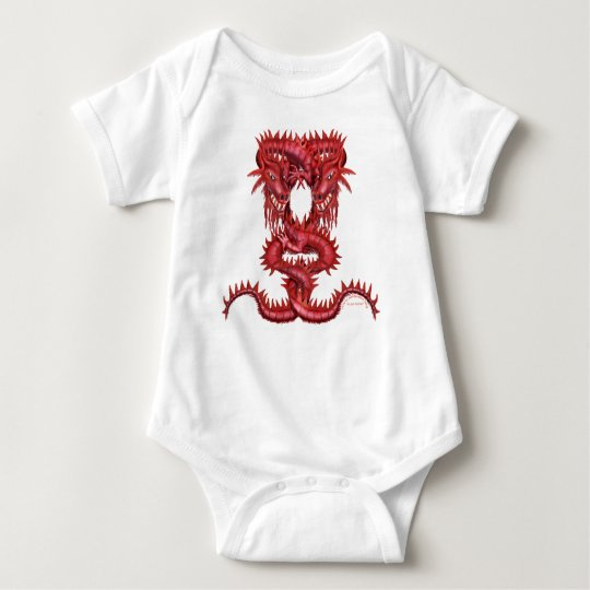 Double Red Dragon Baby Bodysuit