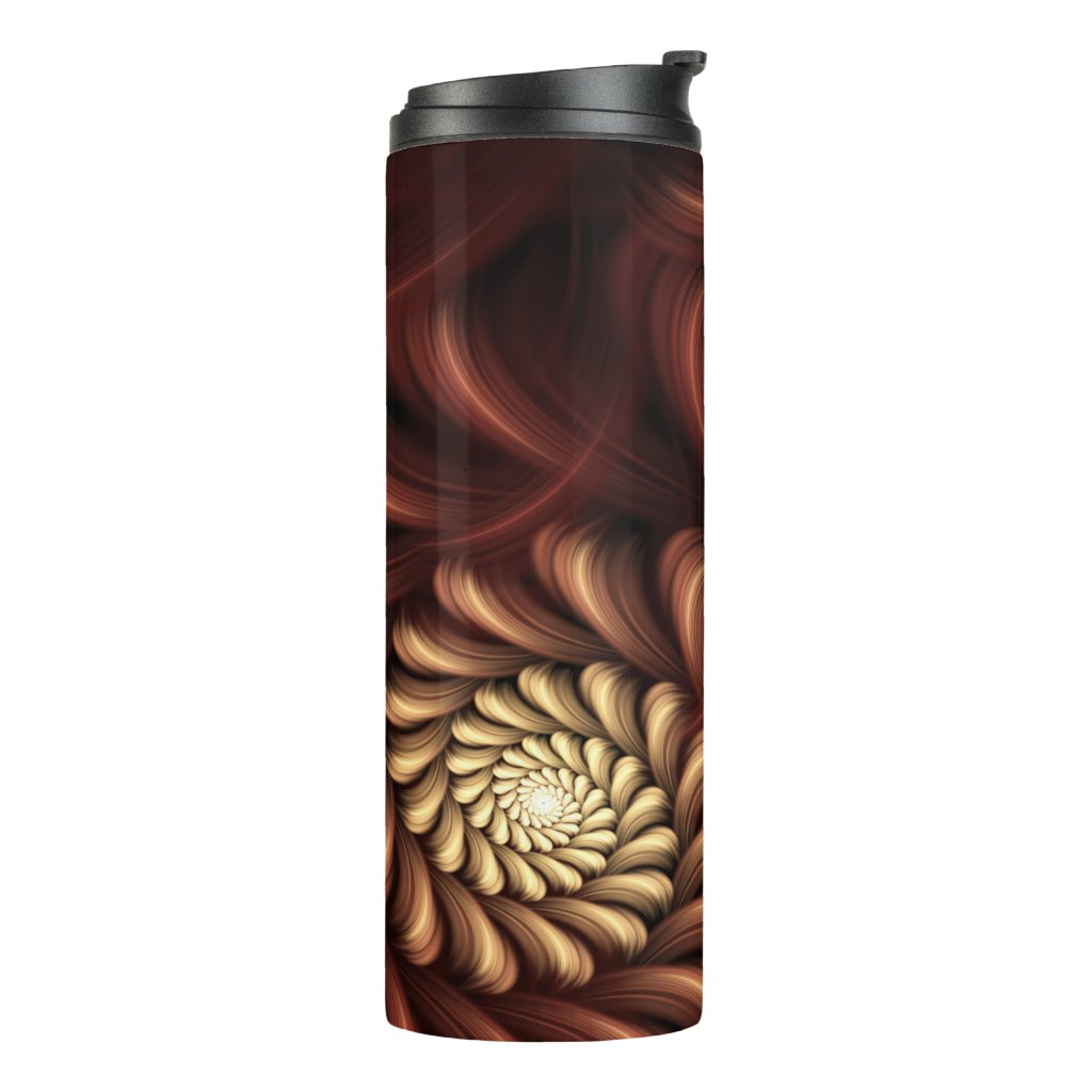 Double Red Fractal Sprials Thermal Tumbler