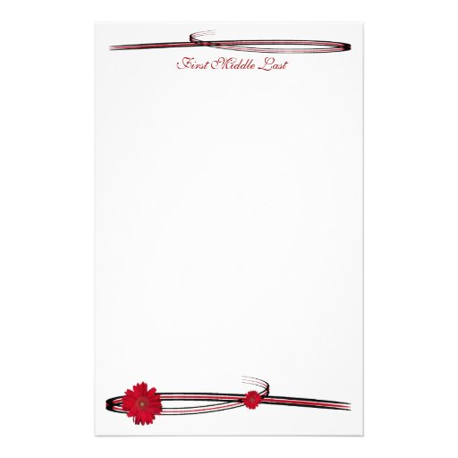 Double Red Gerber Daisy Sweep Customized Stationery