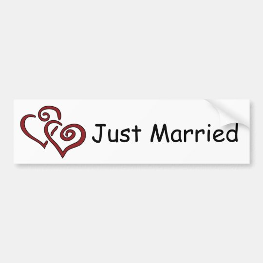 Double Red Hearts Just Married Bumper Sticker