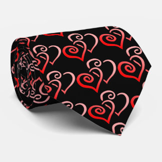 Double Red Swirly Hearts Men's Tie