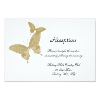 Double Ring Butterfly Wedding Reception Card