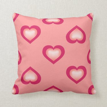 Double salmon fade hearts large pattern throw pillows