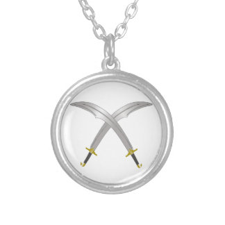 Double scimitar 2 silver plated necklace