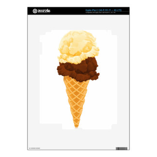 Double Scoop Ice Cream Cone Teal Stripes iPad 3 Skin