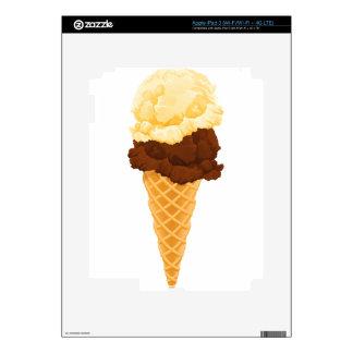 Double Scoop Ice Cream Cone Teal Stripes iPad 3 Skin