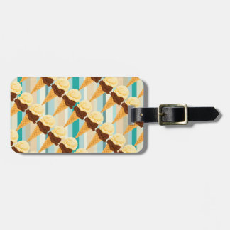 Double Scoop Ice Cream Cone Teal Stripes Bag Tag