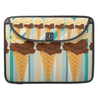 Double Scoop Ice Cream Cone Teal Stripes MacBook Pro Sleeves