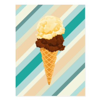 Double Scoop Ice Cream Cone Teal Stripes Post Card