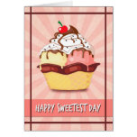 Double Scoop Ice Cream w/ Cherry  for Sweetest Day Greeting Card