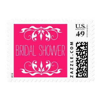Double Scroll Frame Bridal Shower fuchsia & white Postage