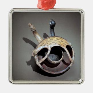 Double serpent bowl metal ornament