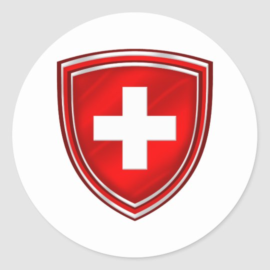 Double Shield Swiss Emblem For De Schweiz Classic Round Sticker