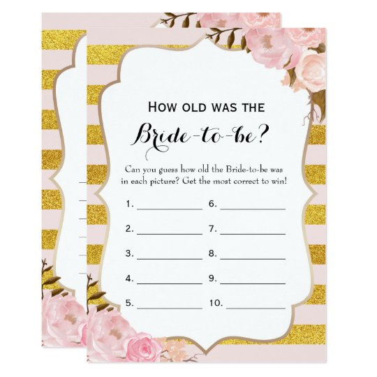 Double Side 2 Bridal Shower Game How Old Advice Invitation