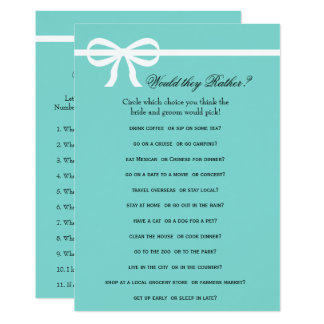 Double Side Aqua & Bows Bridal Shower Games Invitation