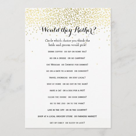 Double Side Gold Confetti Bridal Shower Games