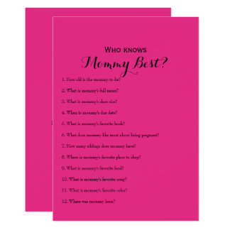 Double Side Hot Pink Baby Shower Games Card