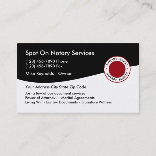 double side notary public business card - Notary Public Business Cards