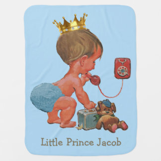 Double Side Print Baby Prince Phone Personalized Stroller Blanket