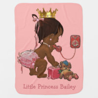 Double Side Print Ethnic Princess Personalized Receiving Blanket