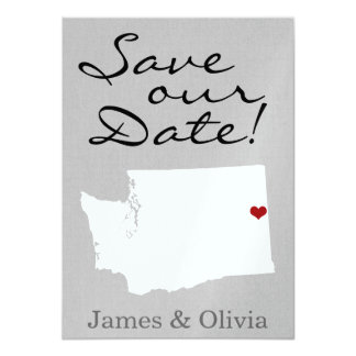 """Double Side Save the Date with WA State 4.5"""" X 6.25"""" Invitation Card"""