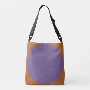 Beach Themed Double sided abstract art print purple on brown crossbody bag