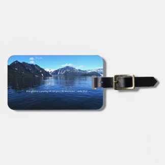 double sided alaska scene luggage tag with quotes