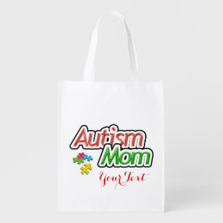 Double sided Autism Mom Reusable Bag
