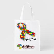 autism, mom, reusable, bag, tote, birthday, awareness, education, school, son, [[missing key: type_reusableba]] with custom graphic design