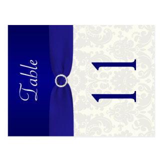 Double-sided Blue and Ivory Damask Table Number Postcard
