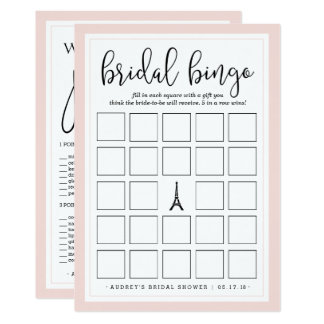 Double-Sided Bridal Shower Bingo and Purse Game Card